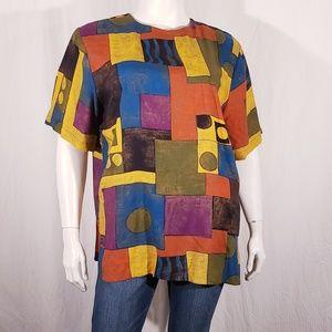 Vintage 90's  Color Block Blouse size  18w